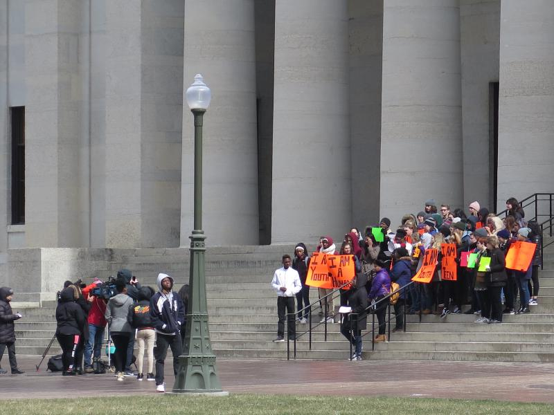 Students rallied on steps at Ohio Statehouse