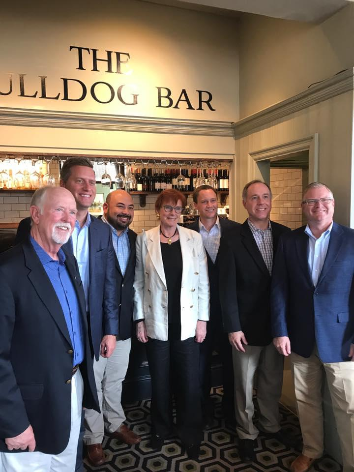 Republican House Speaker Cliff Rosenberger (third from left) stands with lawmakers on a trip to London last summer. Sources say that trip included two lobbyists for the title lending industry.