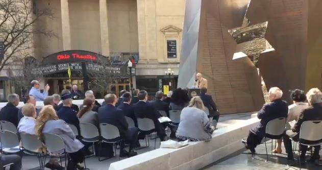 Holocaust survivor Al Miller speaks at the Ohio Holocaust Memorial Service on the south side of the Ohio Statehouse at the Holocaust Monument.