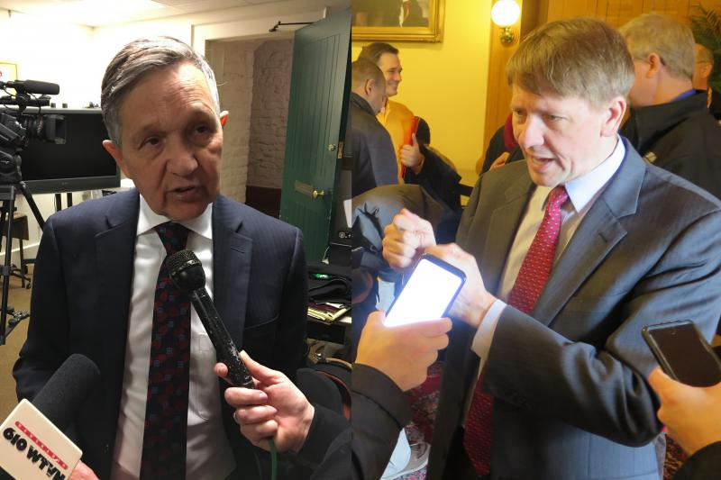Democratic candidates for governor Dennis Kucinich (left) and Richard Cordray