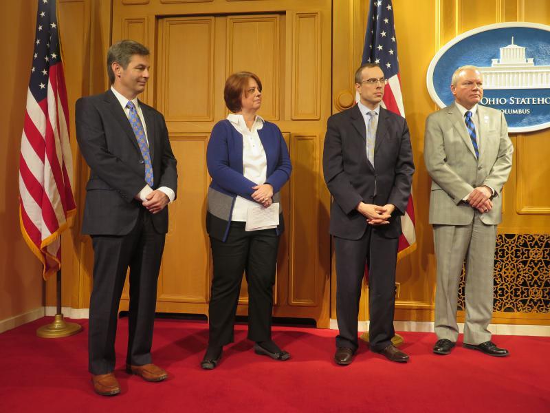 (from left to right) Sen. Matt Dolan (R-Chagrin Falls); Susan Munroe, Van Wert area Chamber of Commerce CEO; David Zak, Seneca Industrial and Economic Development Corporation CEO; Rep. Bill Reineke (R-Tiffin).