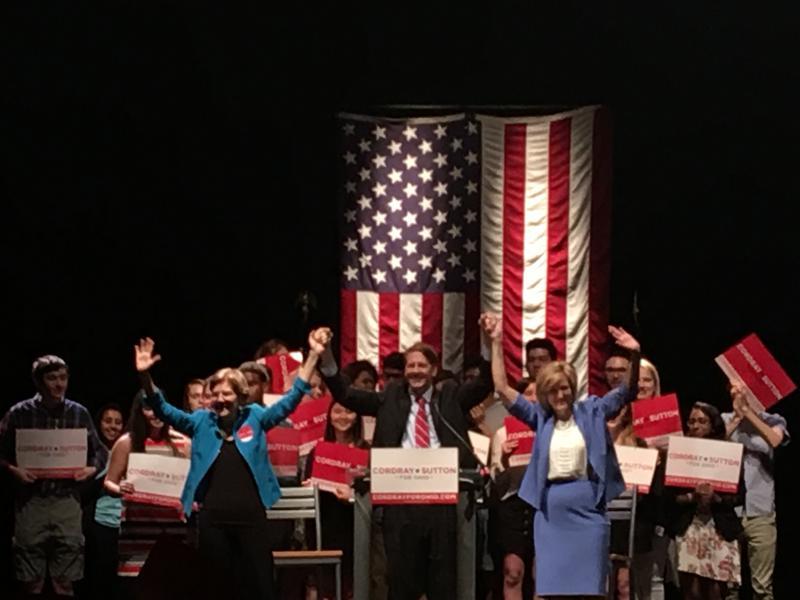 L-R Senator Elizabeth Warren, Democratic Gubernatorial candidate Richard Cordray, Lieutenant Governor candidate Betty Sutton