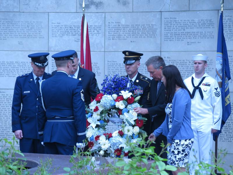 Laying the wreath at the Statehouse ceremony