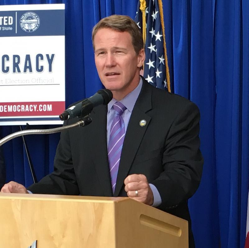 Secretary of State Jon Husted speaks at an event encouraging people to become poll workers in September 2016.