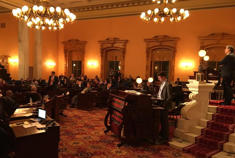 Ohio Senate debates the state's renewable energy standards in December 2016. The legislature passed a bill to continue a freeze on those mandates but Kasich vetoed that measure.