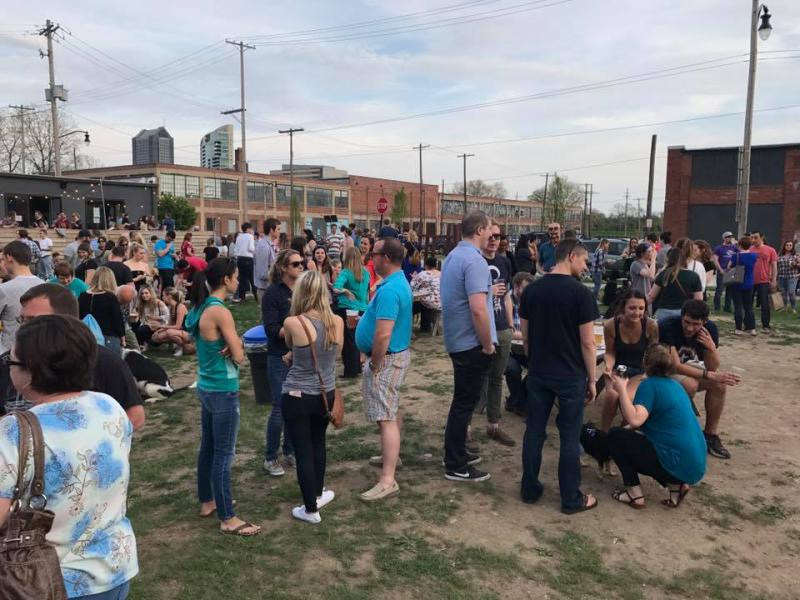 "Land Grant Brewing in Columbus hosts ""Pups and Pints"" as benefit event for local humane society. Land Grant supports the bill to allow dogs on patios."