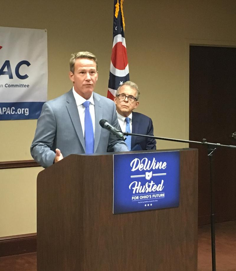Jon Husted (left) and Mike DeWine accepted the Ohio State Medical Association's endorsement on July 11.