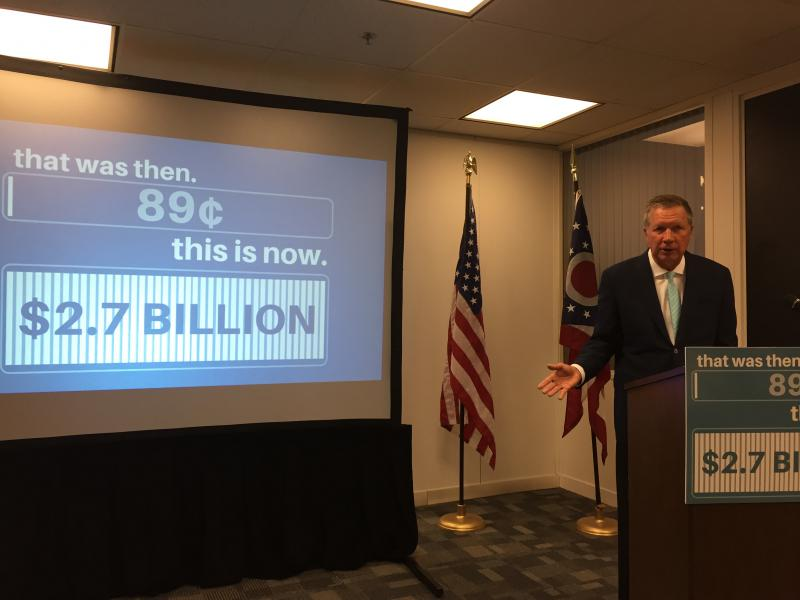 "Gov. John Kasich (R-Ohio) announces the ""Rainy Day Fund"" deposit, increasing the amount to nearly $2.7 billion."