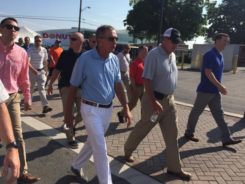 Gov. John Kasich tours the Ohio State Fair for one last Opening Day as governor.