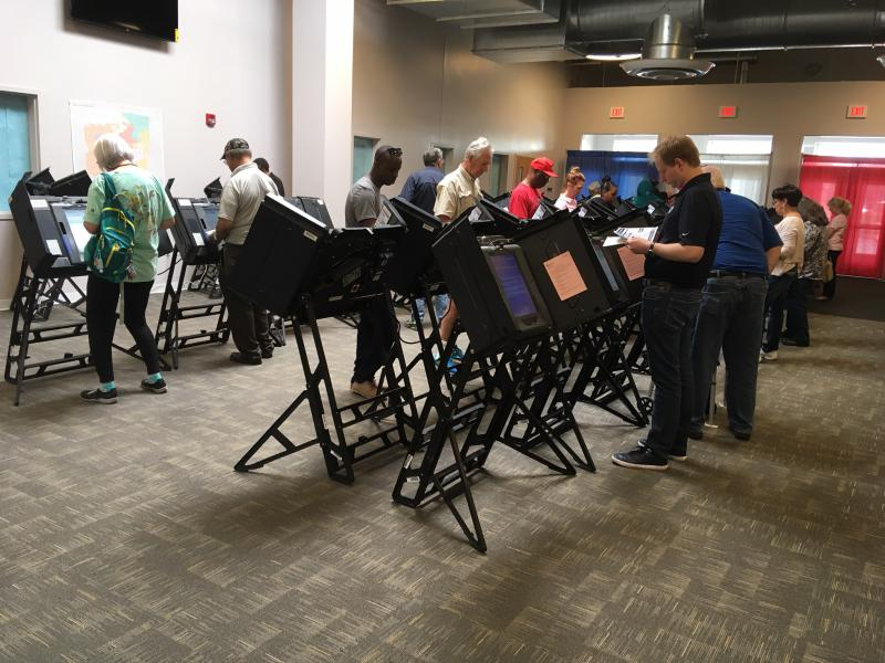 Voters cast ballots at the early voting center in Franklin County in 2017.