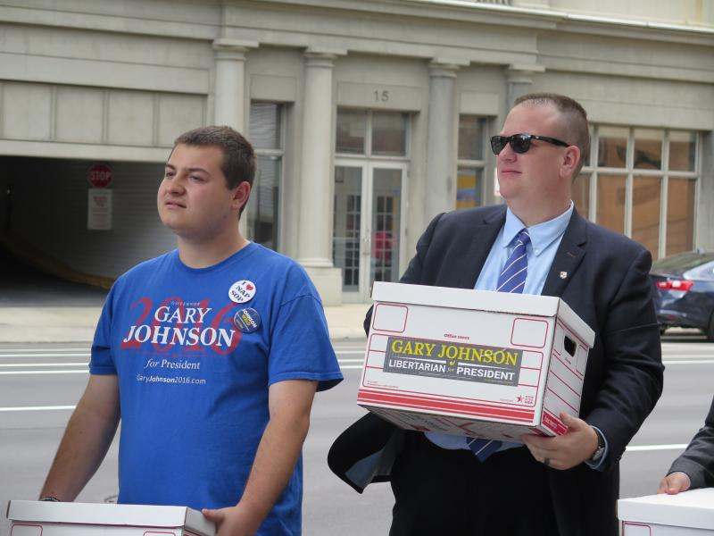 Libertarian Party of Ohio turn in petitions to ultimately put Gary Johnson on the ballot as their presidential nominee. Because the Libertarians lost their minor party status, Johnson was listed as an independent.