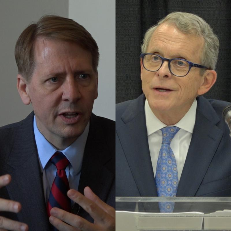 Rich Cordray, former Ohio Attorney General and former director of the Consumer Financial Protection Bureau; Mike DeWine, Ohio Attorney General.