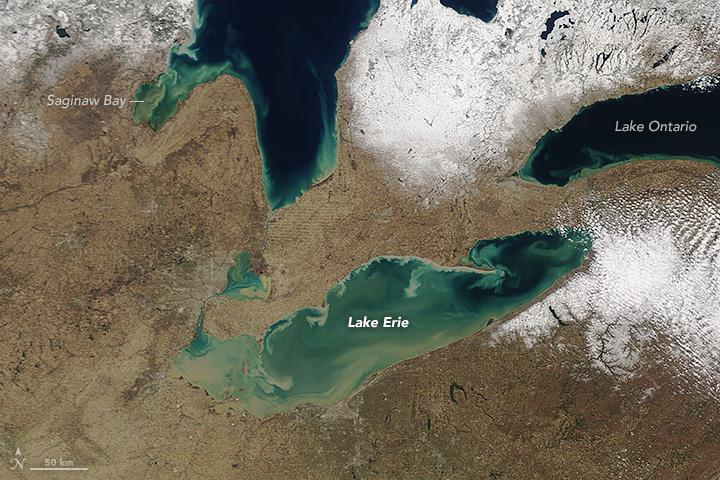 An image of Lake Erie captured by NASA on April 20, 2018.