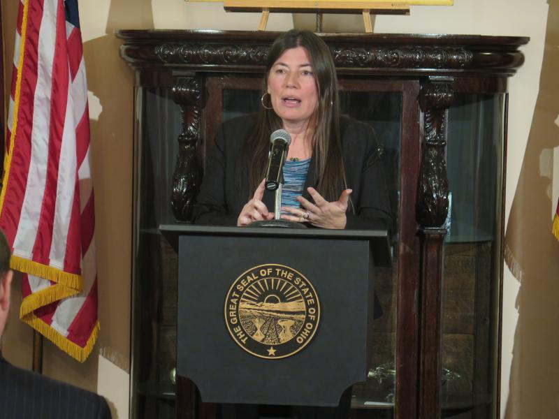 Tracy Plouck speaks at an event on new state guidelines for prescription painkillers in February.