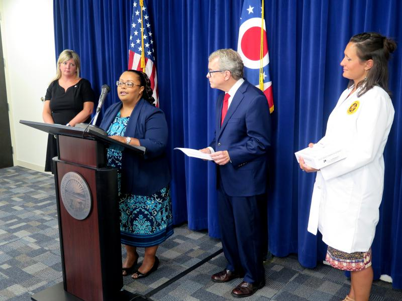 Sen. Stephanie Kunze (R-Hilliard), Rosa Beltre of the Ohio Alliance to End Sexual Violence, Attorney General Mike DeWine (R) and laboratory supervisor Kristen Slaper with the Bureau of Criminal Investigation announce the rape kit tracking program.