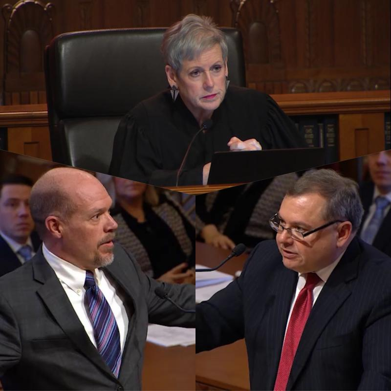 (clockwise from bottom left) Doug Cole, attorney for Ohio Department of Education; Chief Justice Maureen O'Connor; and Marion Little, attorney for ECOT during oral arguments before the Ohio Supreme Court in February.