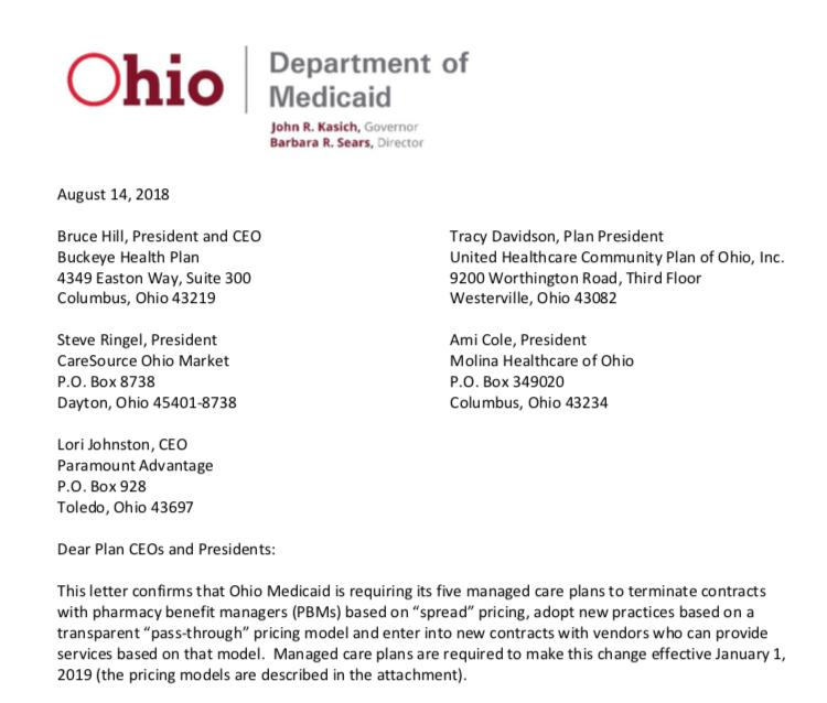 Part of a letter from Ohio Medicaid Director Barbara Sears to its five manage care plans.
