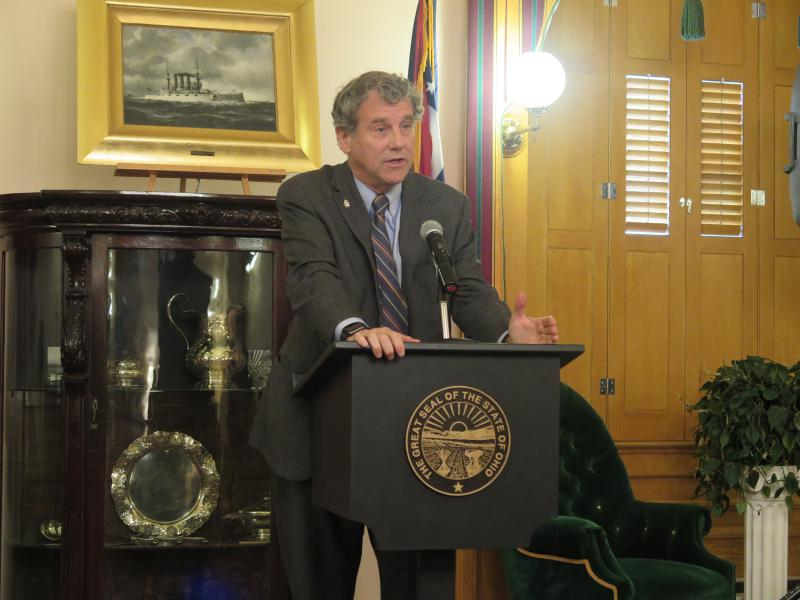 U.S. Senator Sherrod Brown (D-OH) at a Statehouse news conference outlining his bill on federal funds and ECOT.