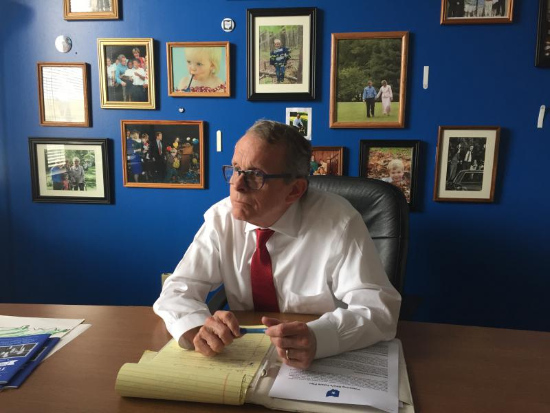Mike DeWine, Republican nominee for governor, sits in his campaign office in Columbus to roll out the specifics of his education plan.