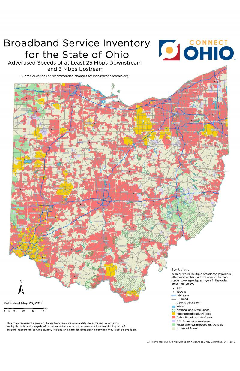 Map showing broadband access in Ohio