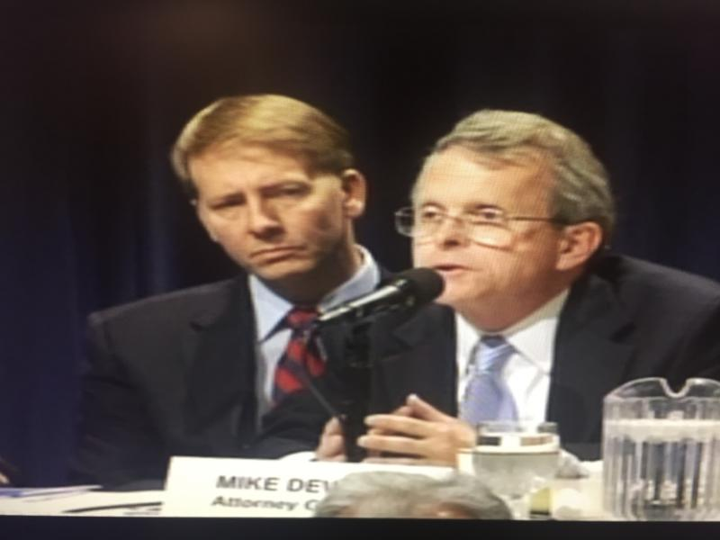 Richard Cordray and Mike DeWine during a forum in Toledo on October 15, 2010 when they ran against each other for Ohio Attorney General.