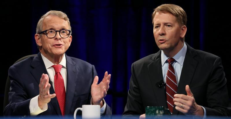 Mike DeWine (R) and Richard Cordray (D) at the third debate in Cleveland, sponsored by the Ohio Debate Commission.