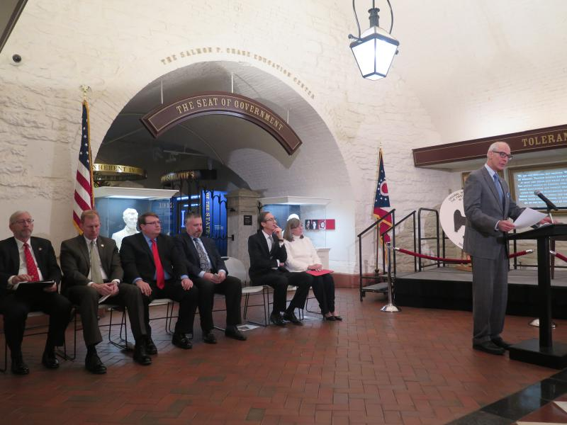Ohio History Connection CEO Burt Logan speaks at the opening of the constitutions exhibit in the Ohio Statehouse.