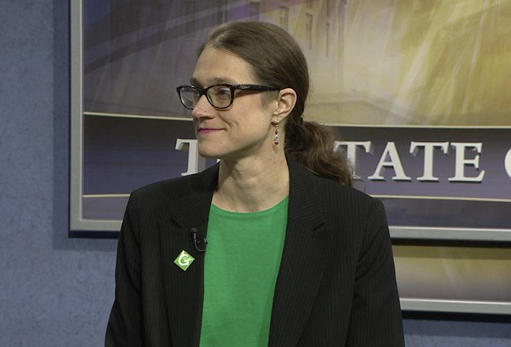 """Green Party candidate for governor Constance Gadell-Newton for a web-exclusive interview on """"The State of Ohio"""" last month."""