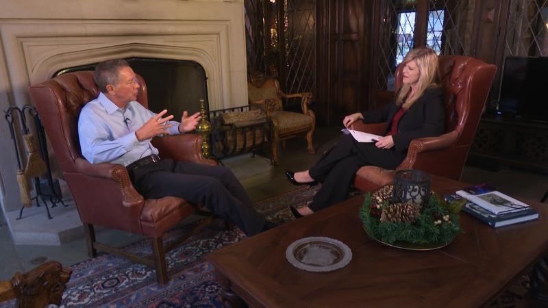 Gov. John Kasich talked with Karen Kasler at the Governor's Residence on Monday.