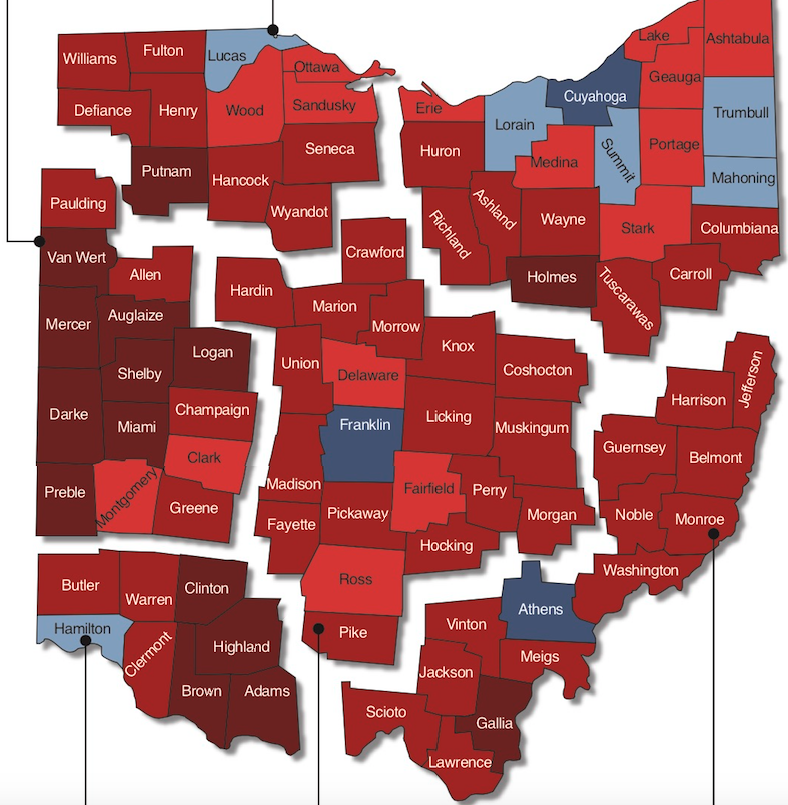 Ohio Gubernatorial Election Results map by county