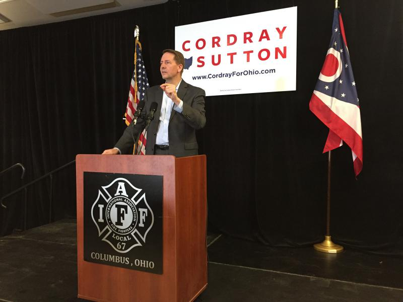 Democratic Gubernatorial nominee Richard Cordray makes one final push before Election Day during a rally in Columbus.