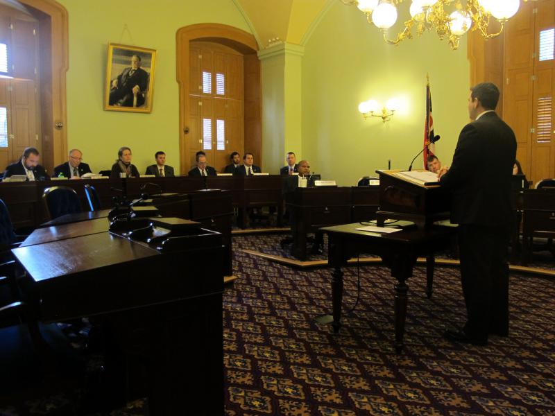Sen. Rob McColley (R-Napoleon) testifies for his bill in front of the Ohio House Federalism and Interstate Relations Committee.