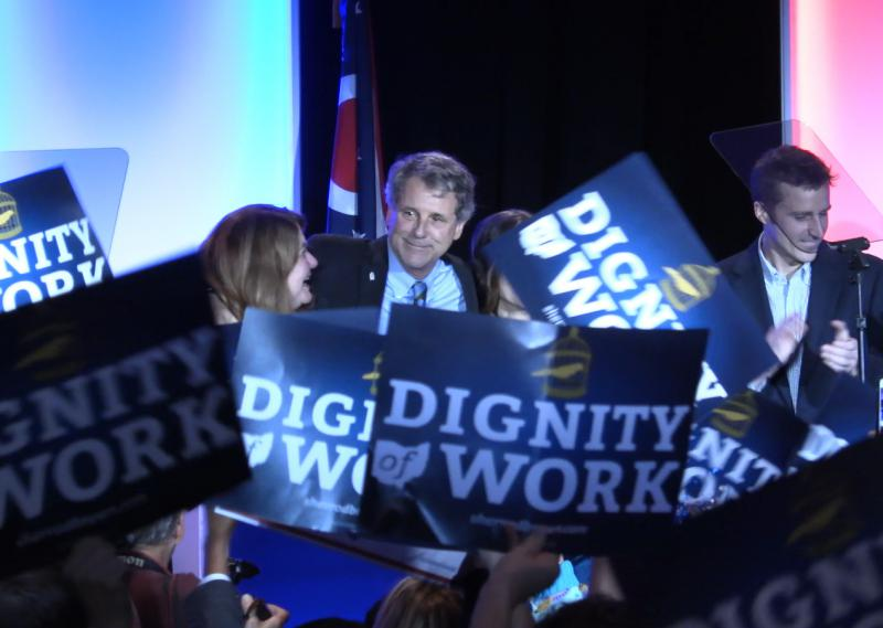 U.S. Sen Sherrod Brown (D-OH) leaves the stage after his victory speech at the Ohio Democratic Party's election night event.