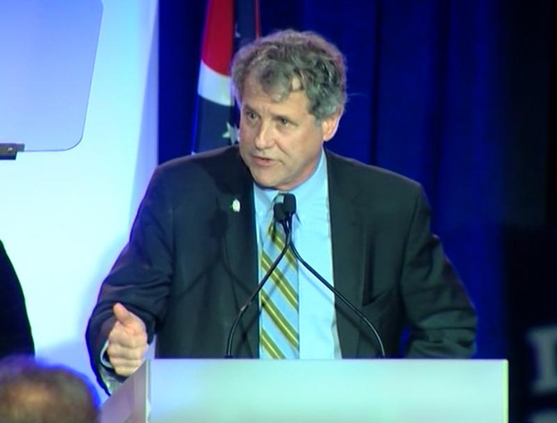 U.S. Sen. Sherrod Brown (D-OH) speaks at the Ohio Democratic Party's event in Columbus.