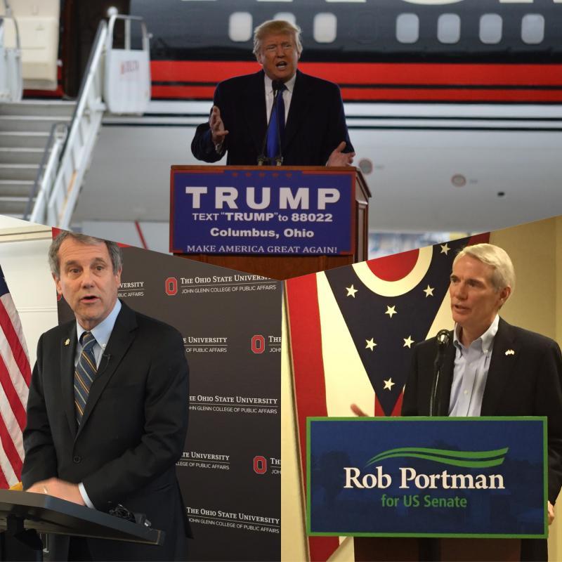 clockwise from top: President Donald Trump; U.S. Sen. Rob Portman (R-Ohio); U.S. Sen. Sherrod Brown (D-Ohio)