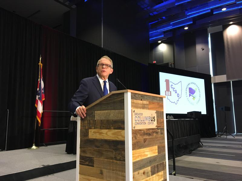 Pic: Gov.-elect Mike DeWine speaks at the winter gathering of the County Commissioners Association of Ohio and the County Engineers Association of Ohio.