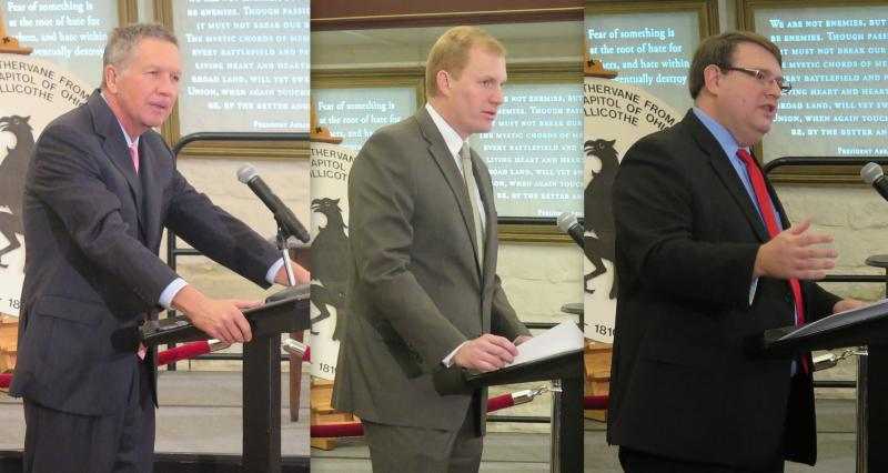 Gov. John Kasich (left), Speaker Ryan Smith (R-Bidwell) and Senate President Larry Obhof (R-Medina) all spoke at the unveiling of the permanent display of Ohio's two constitutions at the Statehouse in November. But they did not appear together.