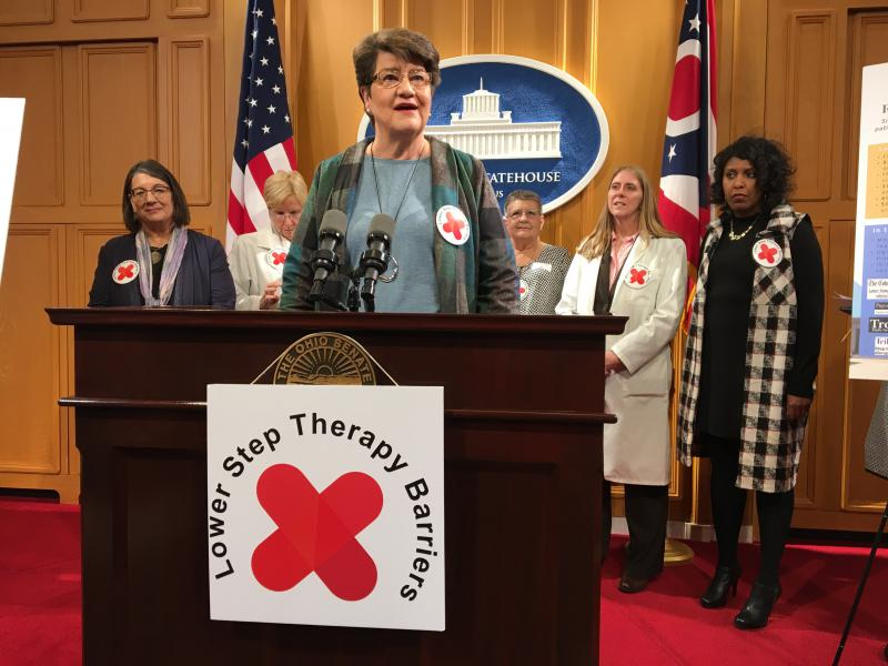 Sen. Peggy Lehner (R-Kettering) speaks at a November 2018 press conference on her bill to reform step therapy.
