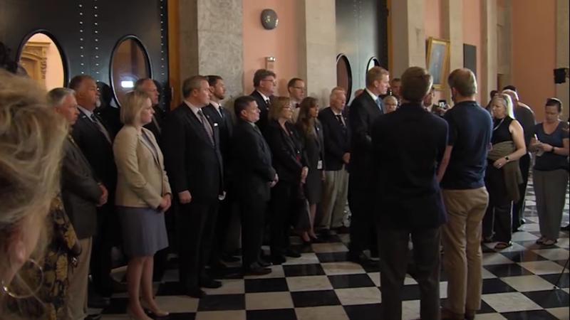 Rep. Ryan Smith (R-Bidwell) held no fewer than three press conferences demanding Republicans take a vote on Speaker, including one showing support from 26 colleagues.
