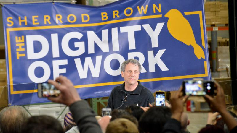 """U.S. Sen. Sherrod Brown (D-OH) kicked off his """"Dignity of Work"""" tour of key presidential primary and caucus states Wednesday night in Brunswick, OH."""