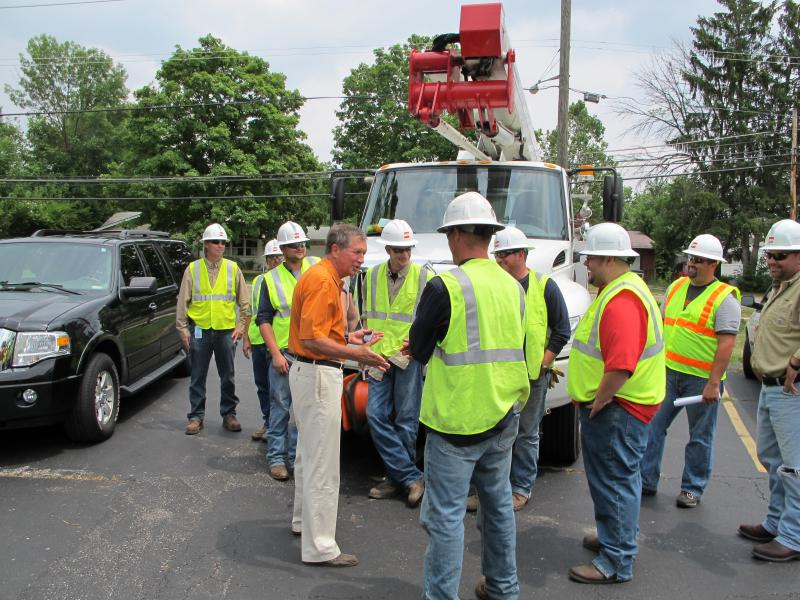 Gov. John Kasich meets with AEP workers after a major storm knocked out power to hundreds of thousands of Ohioans in July 2012.