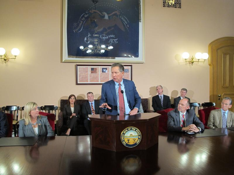 Gov. John Kasich talks about Amazon and state sales taxes in a press conference in his Statehouse office in May 2015.