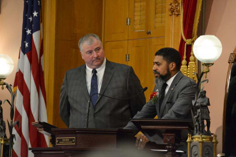 Minority Leader Fred Strahorn (D-Dayton) speaks after Speaker Larry Householder (R-Glenford) called him to the dais following the vote for Speaker. Householder won that vote over Ryan Smith (R-Bidwell), who Strahorn voted for.