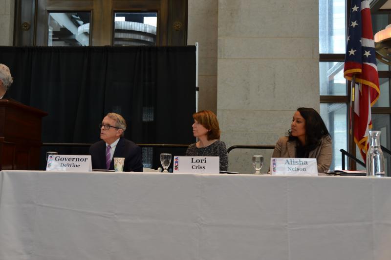 L-R - Gov. DeWine, Lori Criss (Director of Department of Mental Health and Addiction Services), Alisha Nelson (Director, RecoveryOhio)