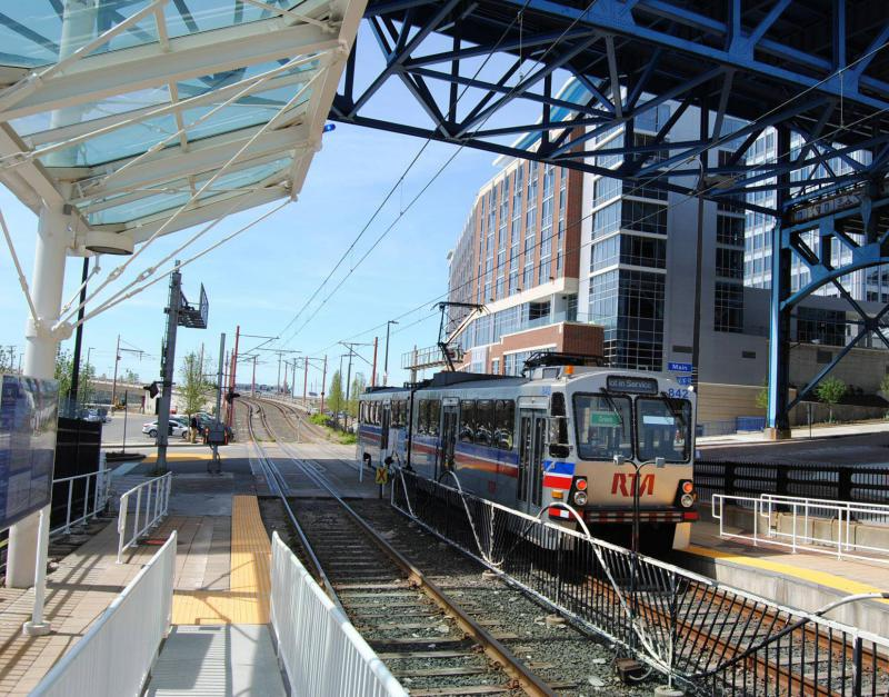 A train on RTA's Waterfront Line in downtown Cleveland stops in 2012.