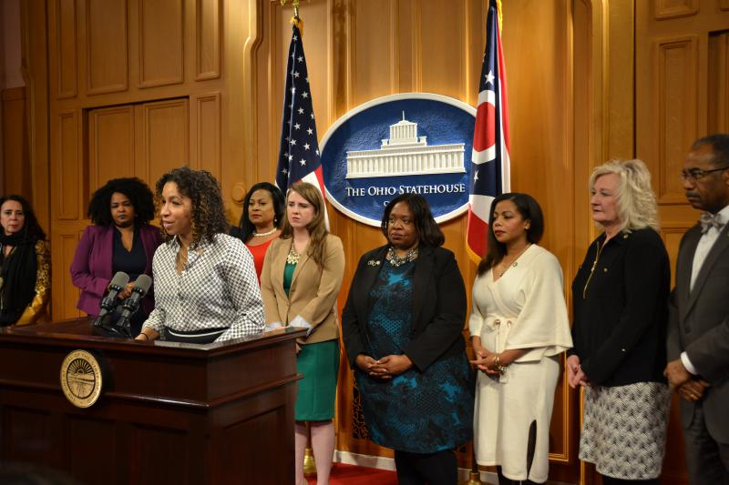 Rep. Janine Boyd (D-Cleveland Heights) with fellow Democratic House and Senate members.