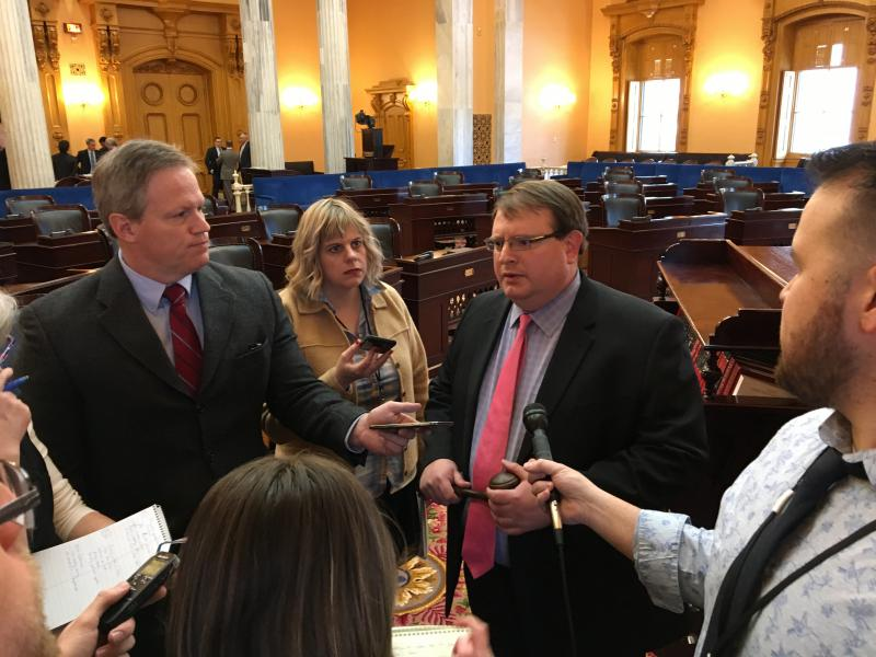 Senate President Larry Obhof (R-Medina) takes questions from reporters after a session in 2018.