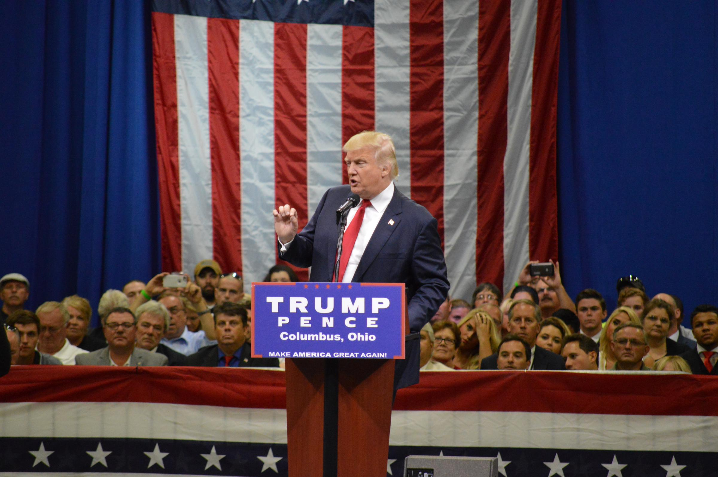 Trump promises to make ohio manufacturing behemoth during columbus donald trump addresses crowd gathered inside the greater columbus convention center on august 1 2016 publicscrutiny Image collections