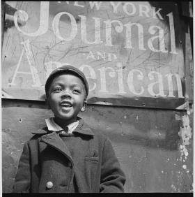 Harlem Newsboy, 1943, by Gordon Parks