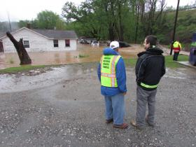 Flooding displaced about 25 residents in Woodfin after Monday night's heavy rain.